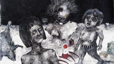 kristina Pirković, Humaniora, 2020, tuš i pero na papiru, 120x80cm