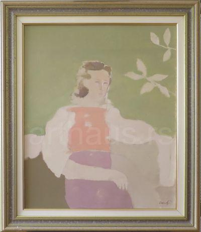 Ljubica Cuca Sokić, Figura žene, 1987/88, ulje na platnu, 65x54 cm