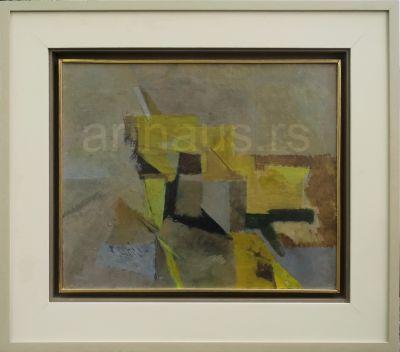 Ljubica Cuca Sokić, Kompozicija u žutom, 1962, ulje na platnu, 46x55 cm