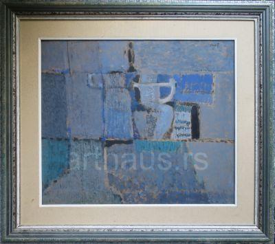 Ljubica Cuca Sokić, Mrtva priroda u plavom, 1972, ulje na kartonu, 50x57 cm