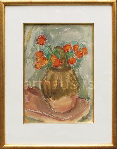 Ivan Radović, Cveće u vazi, akvarel na papiru, 39x28 cm