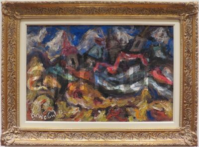 Milan Konjović, Tornjevi i krstine, 1977, ulje na lesonitu, 60x92cm