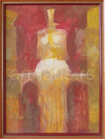 Ljubodrag Janković Jale, Gospodarka, 2003, kombinovana tehnika na kartonu, 35x25 cm