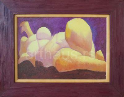 Ljubodrag Janković Jale, Ležeća Dunja, 1997, ulje na kartonu, 25x35 cm