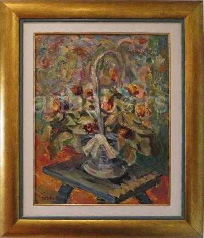 Milenko Šerban, Kotarica sa cvećem, 1950, ulje na panelu, 65x50 cm
