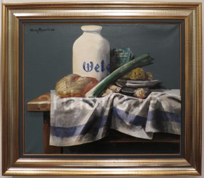 Mića Popović, Mrtva priroda sa lukom, 1990, kombinovana tehnika na platnu, 50x60 cm