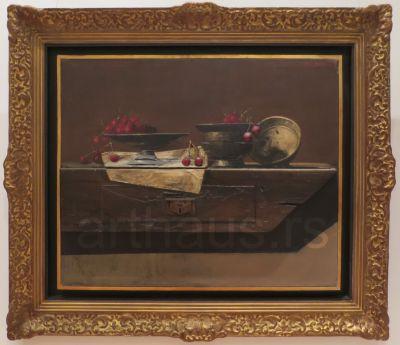 Mića Popović, Still life with cherries, 1975, oil on canvas, 71x87 cm