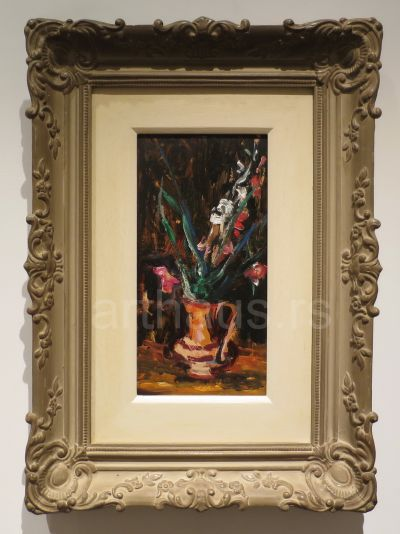 Nikola Graovac, Malo cveće, ulje na kartonu, 32x17 cm