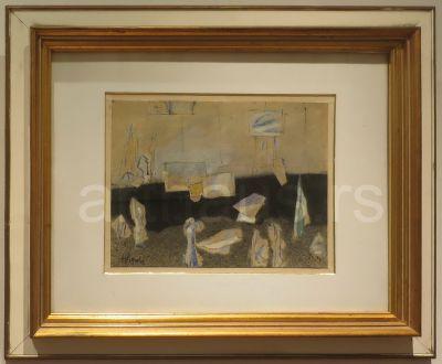 Nedeljko Gvozdenovic, Atelje, gvaš na papiru, 24x32 cm