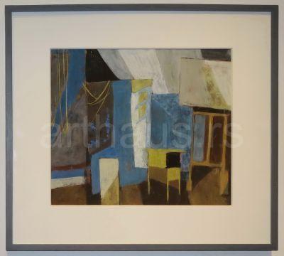 Nedeljko Gvozdenović, Plavi atelje, IV 1961, gvaš na papiru, 38x45 cm (dvostrana slika, na drugoj strani je Devojka na sofi)