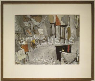 Nedeljko Gvozdenović, Sivo-beli atelje, 1964, gvaš na papiru, 38x49 cm
