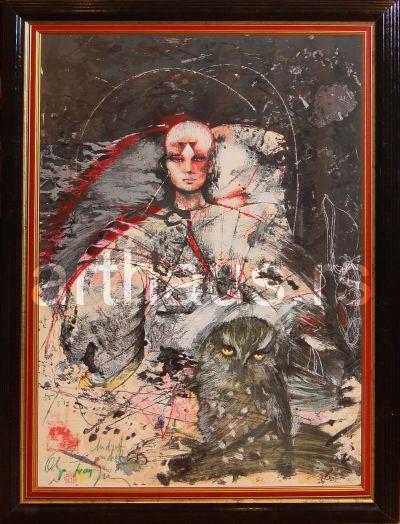 Olja Ivanjicki, Mudrost anđela,1980ih, rukom dorađena grafika, 55/87, 100x70 cm