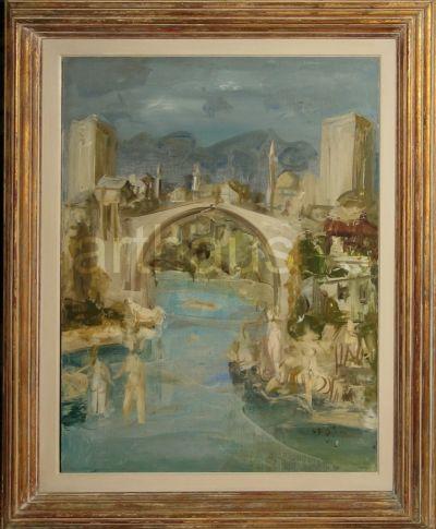 Predrag Peđa Milosavljević, Mostar, 1970, ulje na platnu, 92x73cm