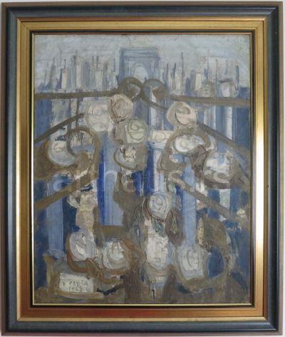 Peđa Milosavljević, Rooftops of Paris, 1965, oil on canvas, 81x65 cm