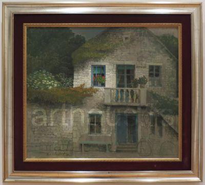 Safet Zec, Kamena kuća, 1991, ulje na platnu kaširano na karton, 73x85cm