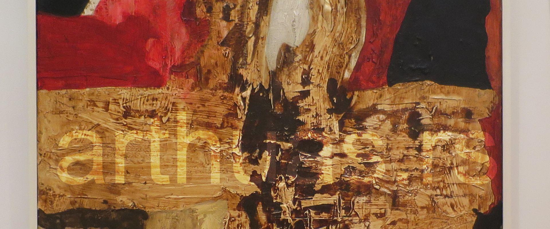 Vera Božičković-Popović, Velika kompozicija, 1970, kombinovana tehnika na platnu, 133x88 cm