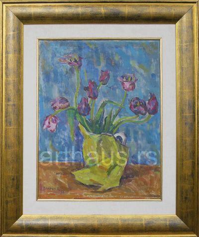 Vera Čohadžić, Cveće u žutoj vazi, 1956, ulje na platnu, 58,5x45 cm