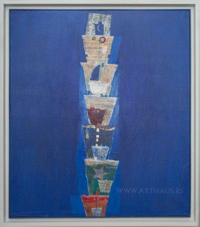 Aleksandar Cvetković, Convoy - Lullaby for sailor, 2011, combined technique, 100x85 cm