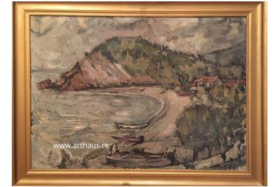 Jovan Zonjić, Beach in Montenegro, 1950s, oil on canvas, 72x100 cm