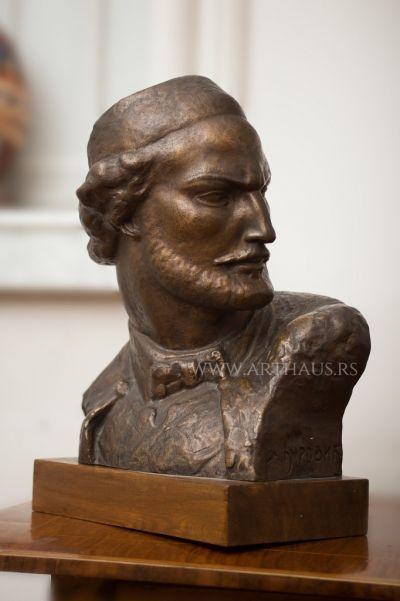 Drago Đurović, Petar II Petrović Njegoš, around 1950, bronze, 35 cm high