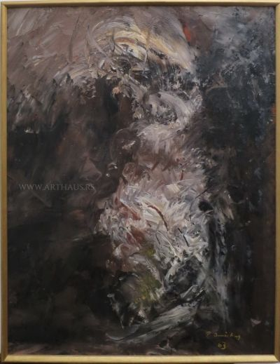 Petar Omčikus, Drvo u cvatu, 1963, ulje na platnu, 110,5x85,5cm