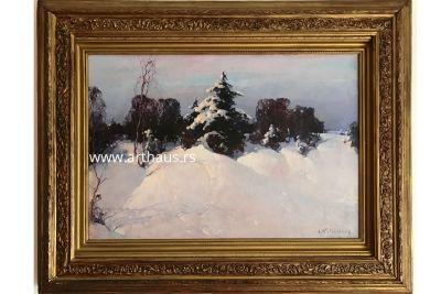 Stepan Kolesnikoff, Winter, oil on canvas, 41x60 cm