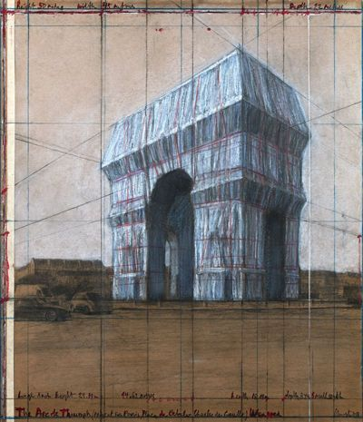 A preparatory collage for Christo and Jeanne-Claude's shrouding of the Arc de Triomphe this autumn Photo by André Grossmann; © Christo
