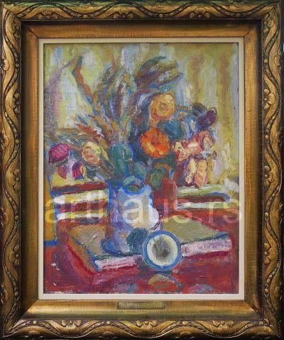 Zora Petrović, Cveće, knjige i sat, 1935, ulje na platnu, 58x46 cm