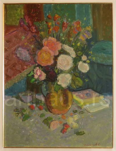 Živko Stojsavljević, Cveće u enterijeru, ulje na lesonitu, 46x61cm