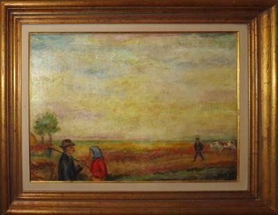 Ivan Radović, Seoski razgovori, 1950-ih,ulje na platnu, 51x70cm