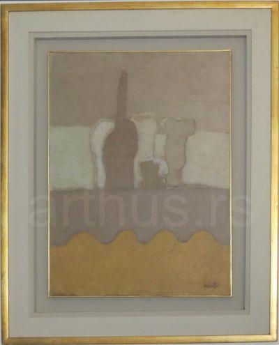 Ljubica Cuca Sokić, Mrtva priroda na žutom stolu, ulje na platnu, 61x45cm