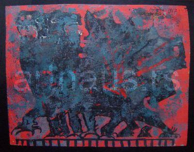 Petar Lubarda, Fantastična životinja, 1967, ulje na papiru, 27x34.5cm
