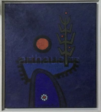 Lazar Vujaklija, Crveni mesec, 1968, ulje na platnu, 95x80 cm