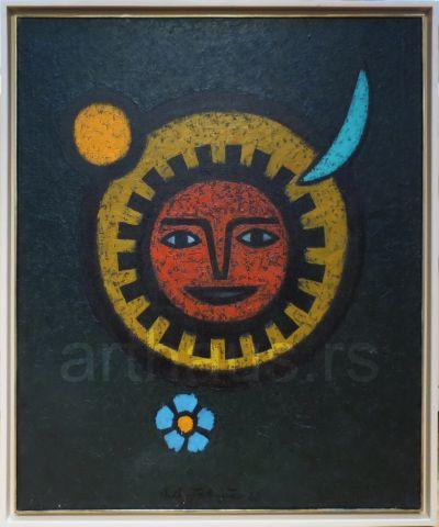 Lazar Vujaklija, Sunce, 1968, ulje na platnu, 95x80cm