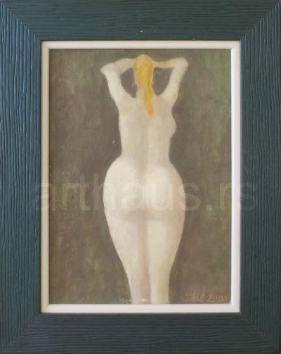 Ljubodrag Janković Jale, Kupačica, 2003, kombinovana tehnika na kartonu, 35x25 cm
