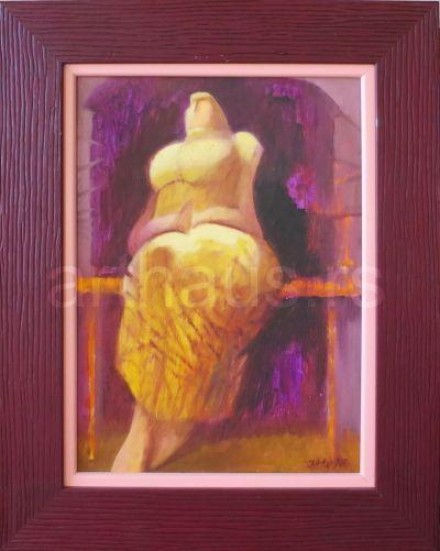Ljubodrag Janković Jale, Sedeća žena, 1998, ulje na kartonu, 35x25 cm