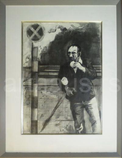 Miodrag Mića Popović, Gvozden, 1970ih, ugljen i olovka na papiru, 70x50 cm