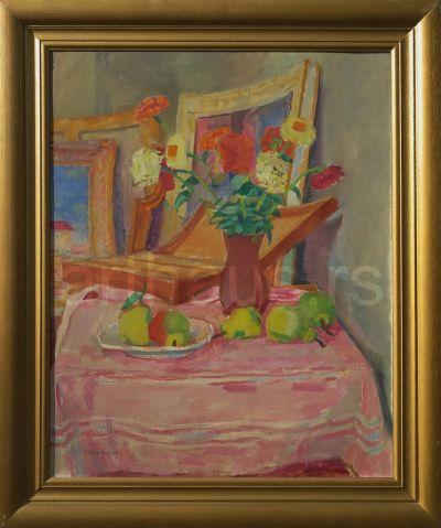 Vinko Grdan, Mrtva priroda u ateljeu, ulje na platnu, 81x65 cm.