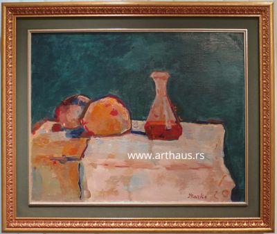 Marko Čelebonović, Mrtva priroda sa bokalom vina i hlebom, 1960-ih, ulje na platnu, 73x92 cm